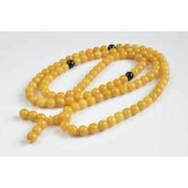 Mila Mala Rosary 10.5 mm 76 g Egg Yolk Butterscotch Buddhist Prayer Beads Baltic Amber