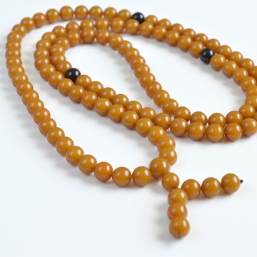Vintage Mila Mala Rosary 9.5 mm 52 g Old Egg Yolk Butterscotch Buddhist Prayer Beads Baltic Amber
