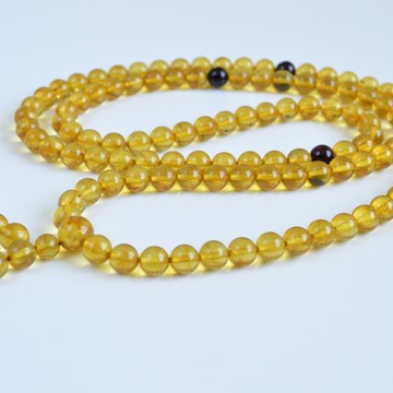 Mila Mala Rosary 8 mm Egg Yolk Cognac Yellow Buddhist Prayer Beads Baltic Amber