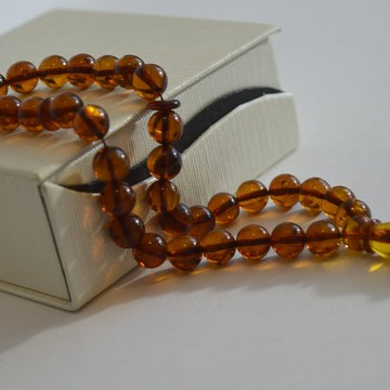 Cognac with Shell Baltic Amber Prayer Beads 14.30 grams