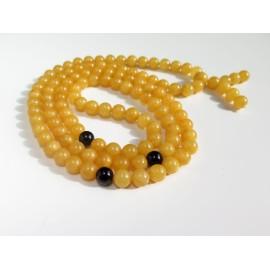 Egg Yolk / Red Cherry Baltic Amber Buddhist Prayer Beads 39.20 grams