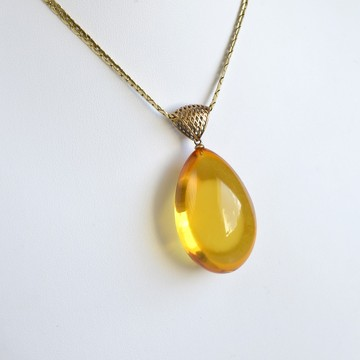 Butterscotch Baltic Amber Pendant, Gold-plated 925 Silver Necklace, Genuine Amber Necklace