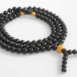 Red Cherry / Butterscotch Baltic Amber Buddhist Prayer Beads 60.3 grams