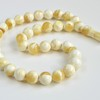 White Amber Round Beads,...
