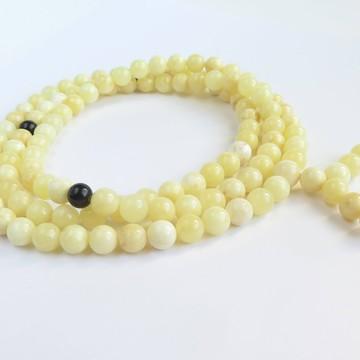 Milky White / Red Cherry Baltic Amber Buddhist Prayer Beads 53.05 grams