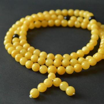 Butterscotch / Red Cherry Baltic Amber Buddhist Prayer Beads 38.75 grams