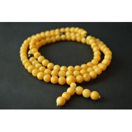 Butterscotch / Red Cherry Baltic Amber Buddhist Prayer Beads 41.65 grams