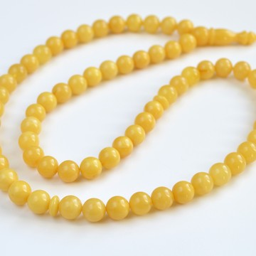 Butterscotch Natural Amber Round Beads, Egg Yolk Yellow Baltic Amber Islamic Prayer Beads 66 Worry Beads 29.5 g 9.5 mm