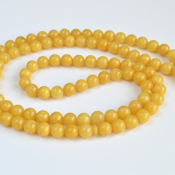 Butterscotch Natural Amber Round Beads, Egg Yolk Yellow Baltic Amber Islamic Prayer Beads 99 Worry Beads 41.5 g 9 mm
