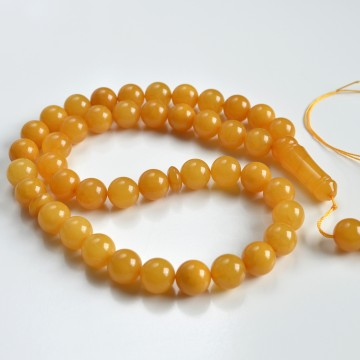 Baltic Amber Tespih Butterscotch Egg Yolk Color Misbaha 44 Beads 14 mm 70.80 g Handmade, Ancient Amber, Vintage Amber