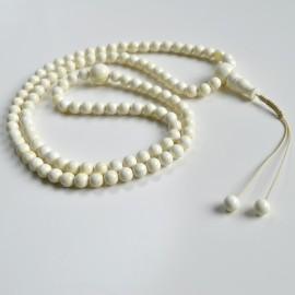 White Amber Round Beads, Creamy Yellow Baltic Amber Mala Prayer Beads 110 Worry Beads 44 g 9 mm
