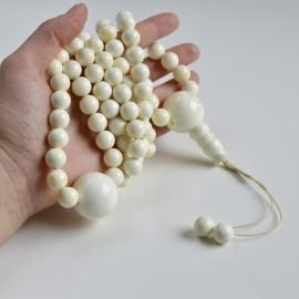 White Amber Round Beads, Creamy Yellow Baltic Amber Mala Prayer Beads 110 Worry Beads 117 g 12 mm