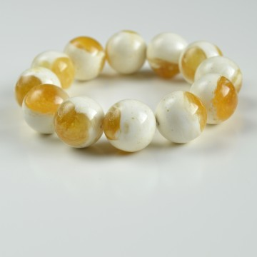 White Baltic Amber Bracelet with 18.5 mm Round Amber Beads, Natural Baltic Amber Bracelet