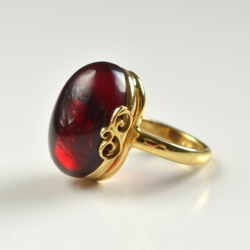 Red Baltic Amber Ring with Gold-plated Silver Floral Motive Pattern, Natural Cherry Amber